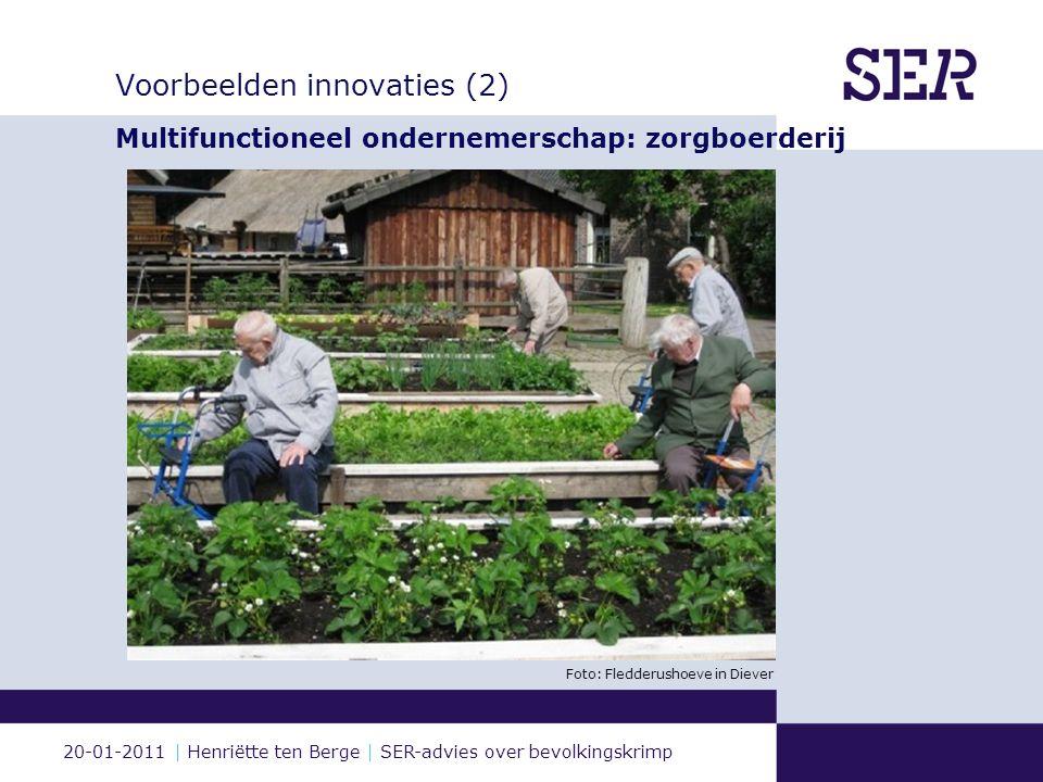 20-01-2011 | Henriëtte ten Berge | SER-advies over bevolkingskrimp Voorbeelden innovaties (2) Multifunctioneel ondernemerschap: zorgboerderij Foto: Fledderushoeve in Diever