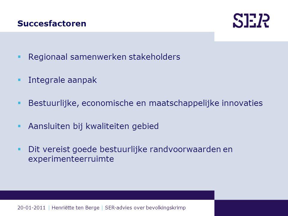 20-01-2011 | Henriëtte ten Berge | SER-advies over bevolkingskrimp Voorbeelden innovaties (1) Samenwerking onderwijs en bedrijfsleven: Noorderpoortcollege Groningen Techniek.