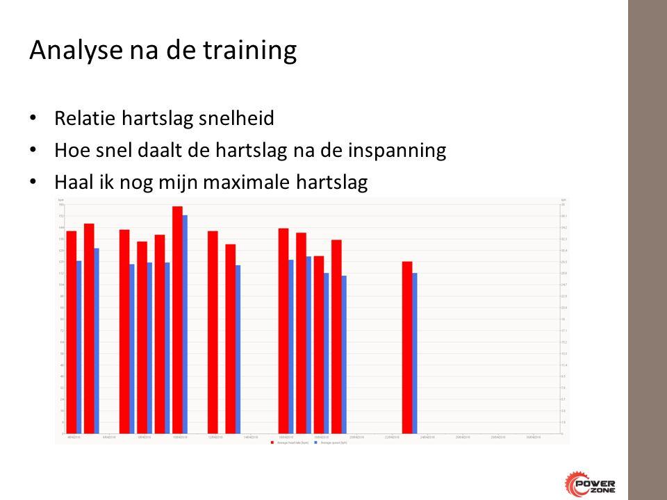 Analyse na de training Relatie hartslag snelheid Hoe snel daalt de hartslag na de inspanning Haal ik nog mijn maximale hartslag