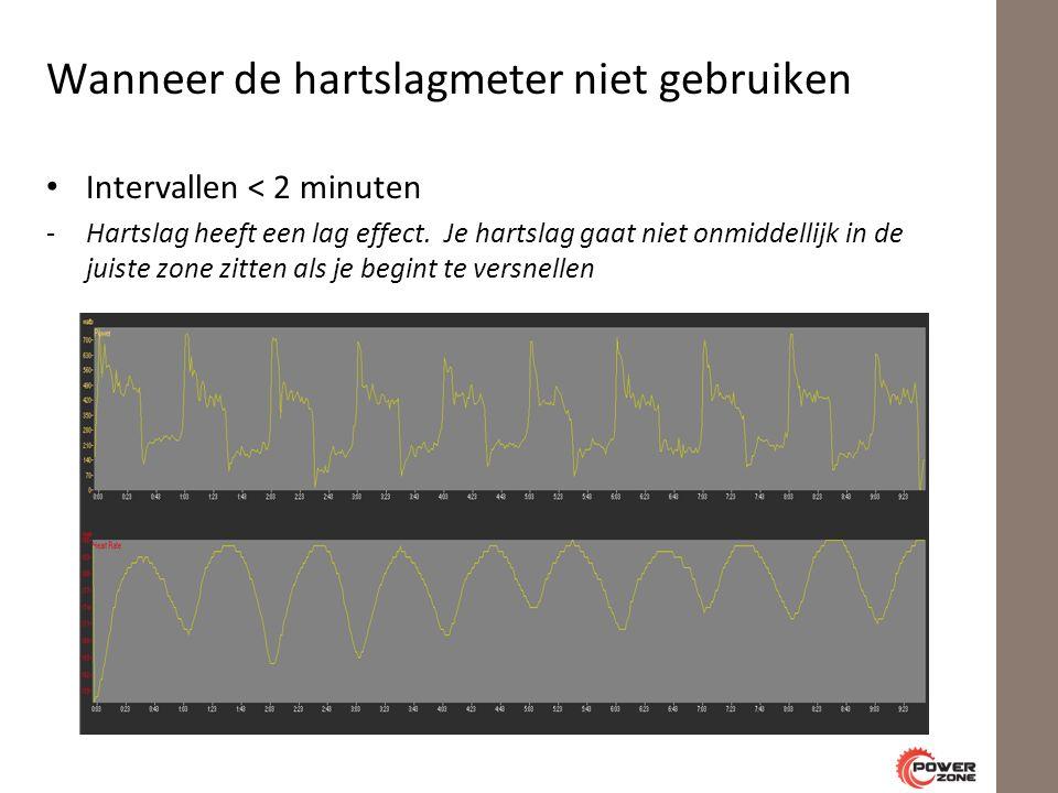Wanneer de hartslagmeter niet gebruiken Intervallen < 2 minuten -Hartslag heeft een lag effect.