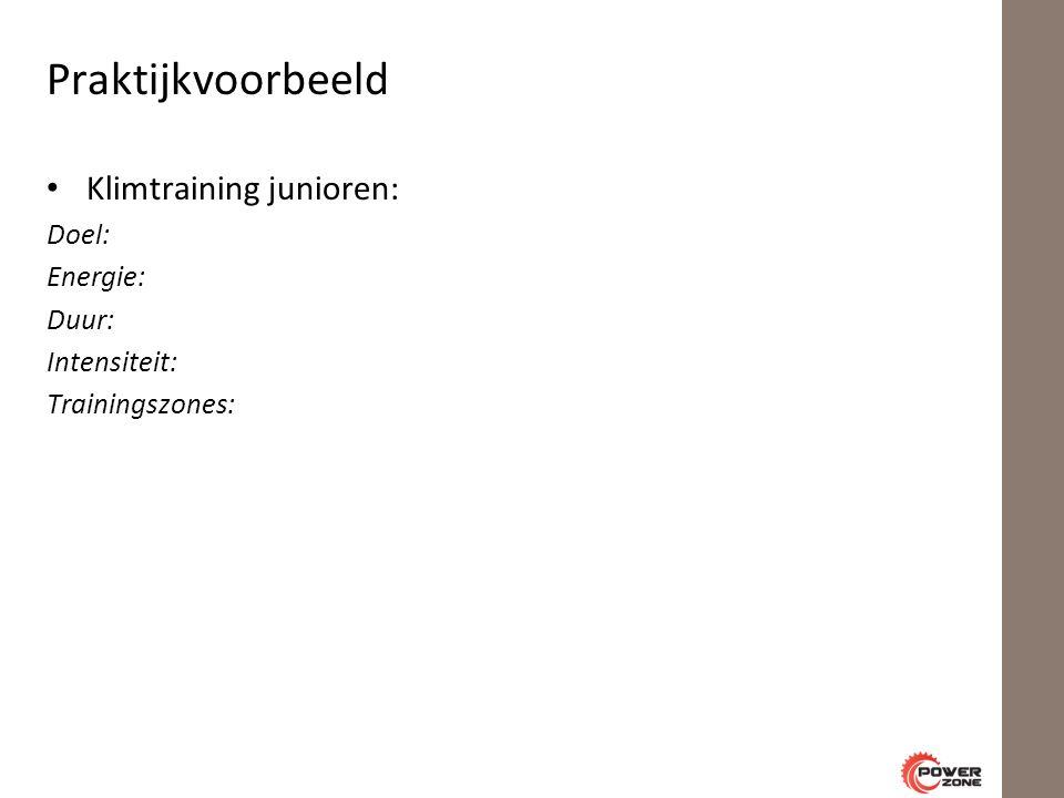 Praktijkvoorbeeld Klimtraining junioren: Doel: Energie: Duur: Intensiteit: Trainingszones: