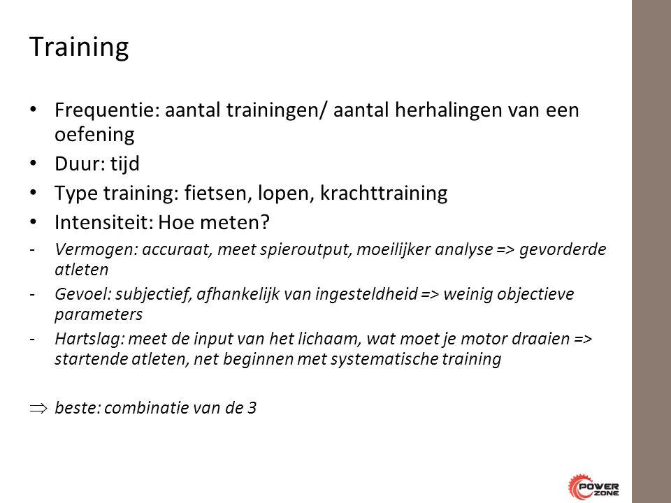 Training Frequentie: aantal trainingen/ aantal herhalingen van een oefening Duur: tijd Type training: fietsen, lopen, krachttraining Intensiteit: Hoe meten.