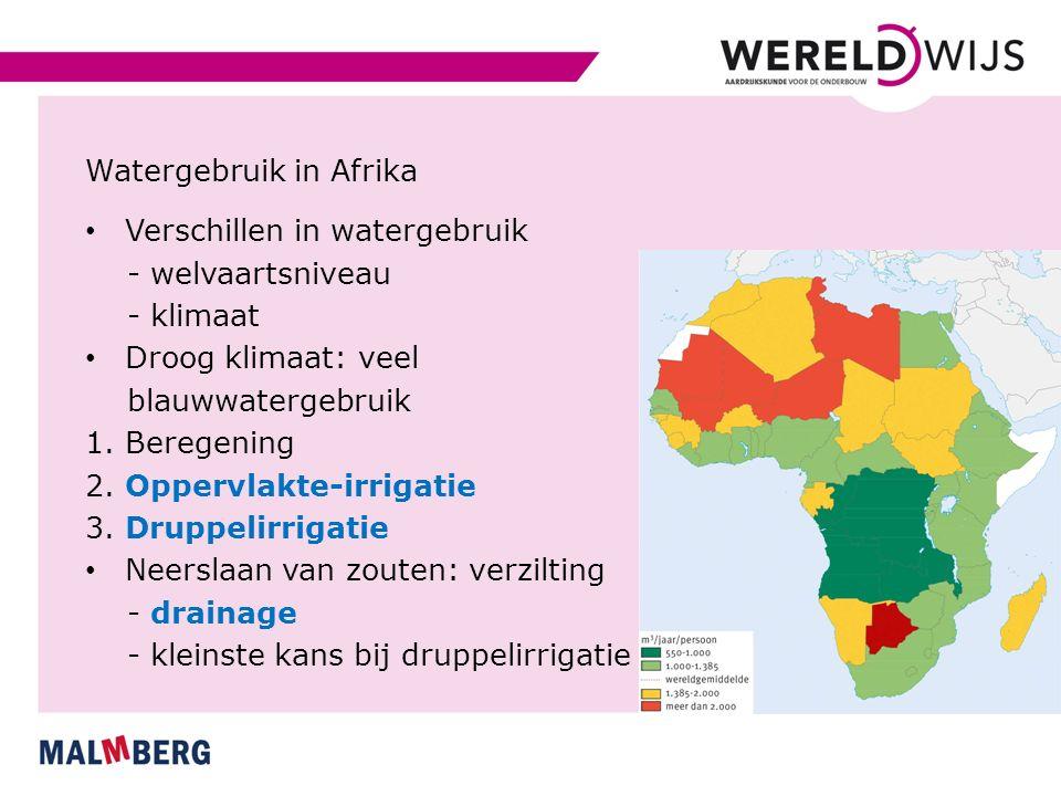 Watergebruik in Afrika Verschillen in watergebruik - welvaartsniveau - klimaat Droog klimaat: veel blauwwatergebruik 1. Beregening 2. Oppervlakte-irri