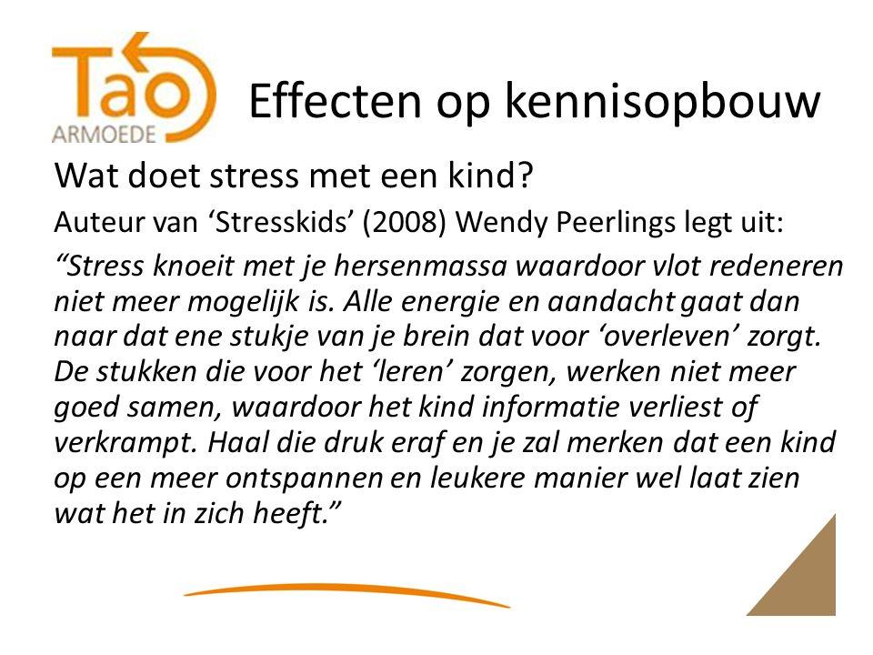 Effecten op kennisopbouw Wat doet stress met een kind.