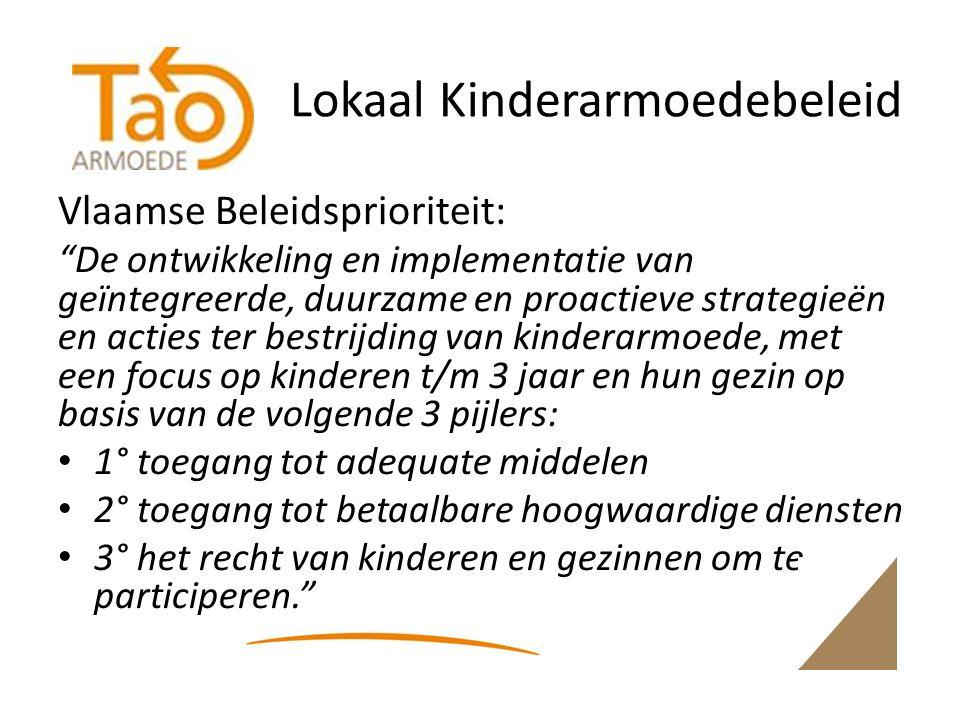 Lokaal Kinderarmoedebeleid Vlaamse Beleidsprioriteit: De ontwikkeling en implementatie van geïntegreerde, duurzame en proactieve strategieën en acties ter bestrijding van kinderarmoede, met een focus op kinderen t/m 3 jaar en hun gezin op basis van de volgende 3 pijlers: 1° toegang tot adequate middelen 2° toegang tot betaalbare hoogwaardige diensten 3° het recht van kinderen en gezinnen om te participeren.