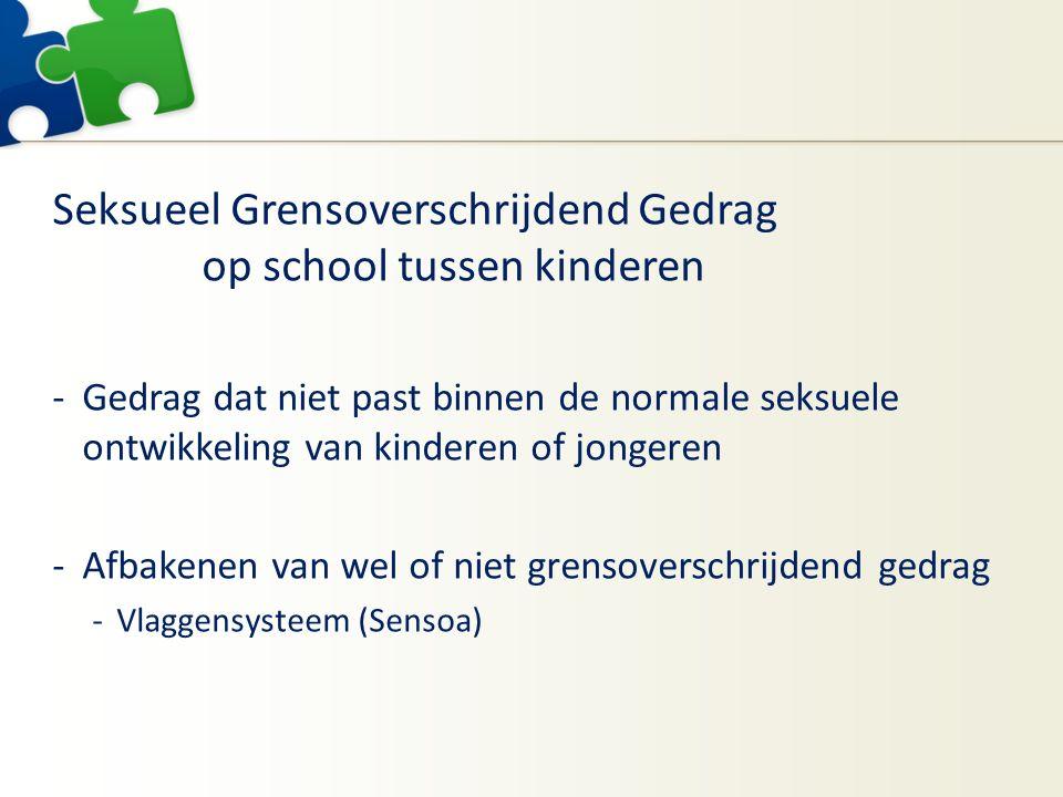 Seksueel Grensoverschrijdend Gedrag op school tussen kinderen -Gedrag dat niet past binnen de normale seksuele ontwikkeling van kinderen of jongeren -Afbakenen van wel of niet grensoverschrijdend gedrag -Vlaggensysteem (Sensoa)