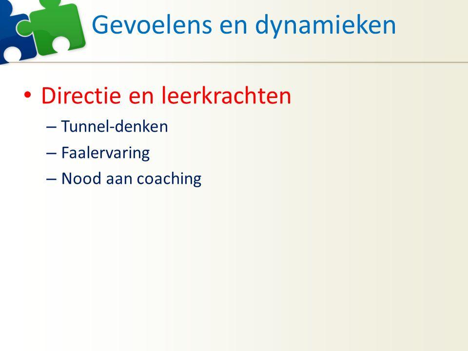 Gevoelens en dynamieken Directie en leerkrachten – Tunnel-denken – Faalervaring – Nood aan coaching