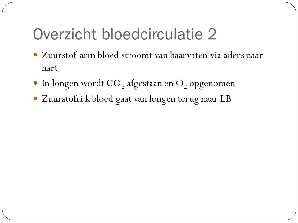 Overzicht bloedcirculatie 2 Zuurstof-arm bloed stroomt van haarvaten via aders naar hart In longen wordt CO 2 afgestaan en O 2 opgenomen Zuurstofrijk