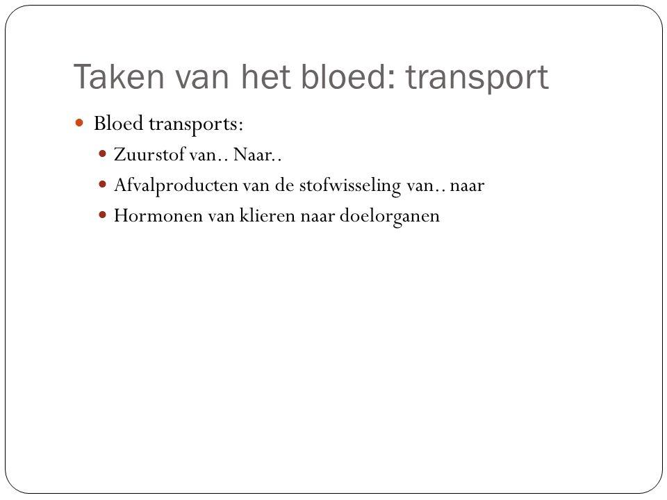 Taken van het bloed: transport Bloed transports: Zuurstof van.. Naar.. Afvalproducten van de stofwisseling van.. naar Hormonen van klieren naar doelor
