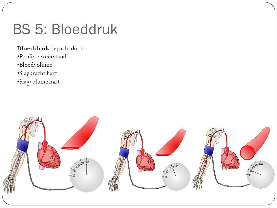Bloeddruk bepaald door: Perifere weerstand Bloedvolume Slagkracht hart Slagvolume hart BS 5: Bloeddruk