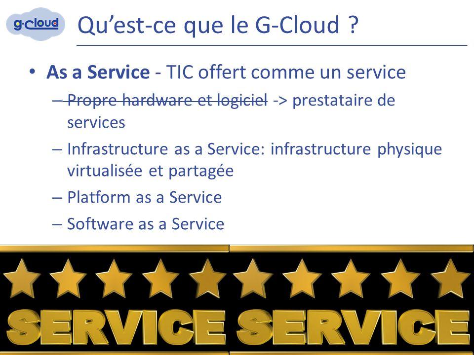 Qu'est-ce que le G-Cloud ? As a Service - TIC offert comme un service – Propre hardware et logiciel -> prestataire de services – Infrastructure as a S