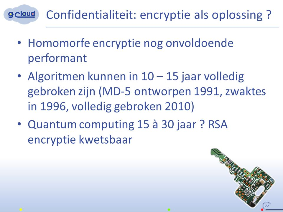 Confidentialiteit: encryptie als oplossing ? Homomorfe encryptie nog onvoldoende performant Algoritmen kunnen in 10 – 15 jaar volledig gebroken zijn (