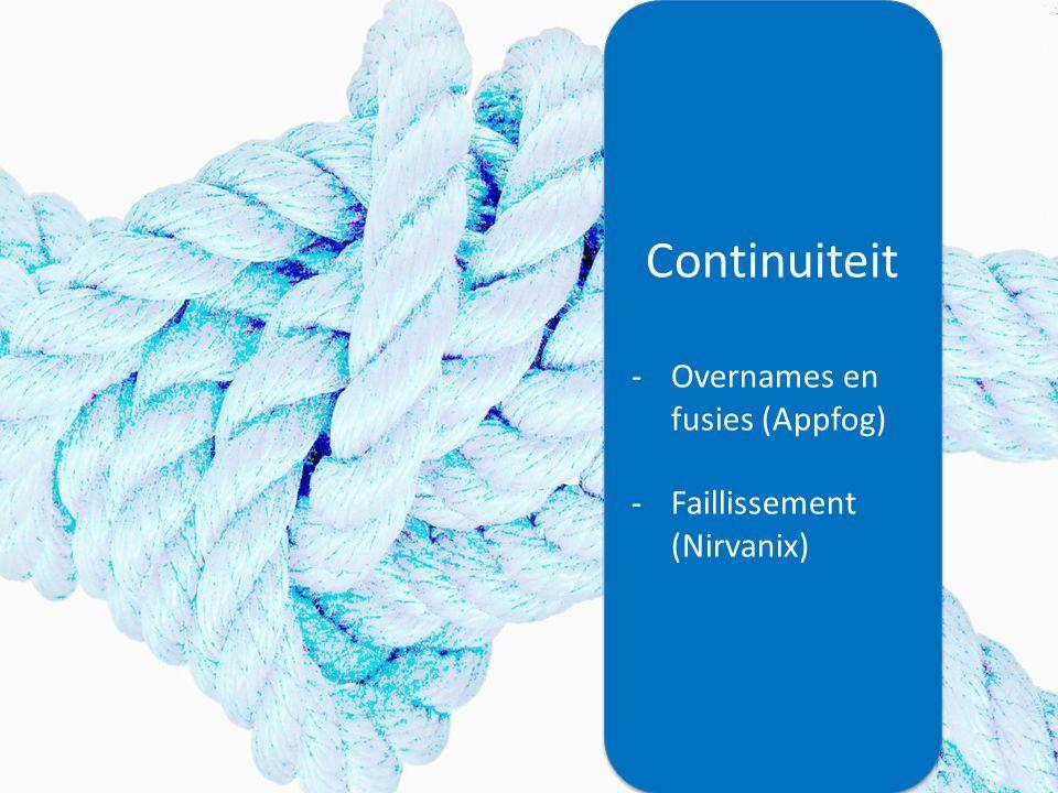 Continuiteit -Overnames en fusies (Appfog) -Faillissement (Nirvanix) Continuiteit -Overnames en fusies (Appfog) -Faillissement (Nirvanix)