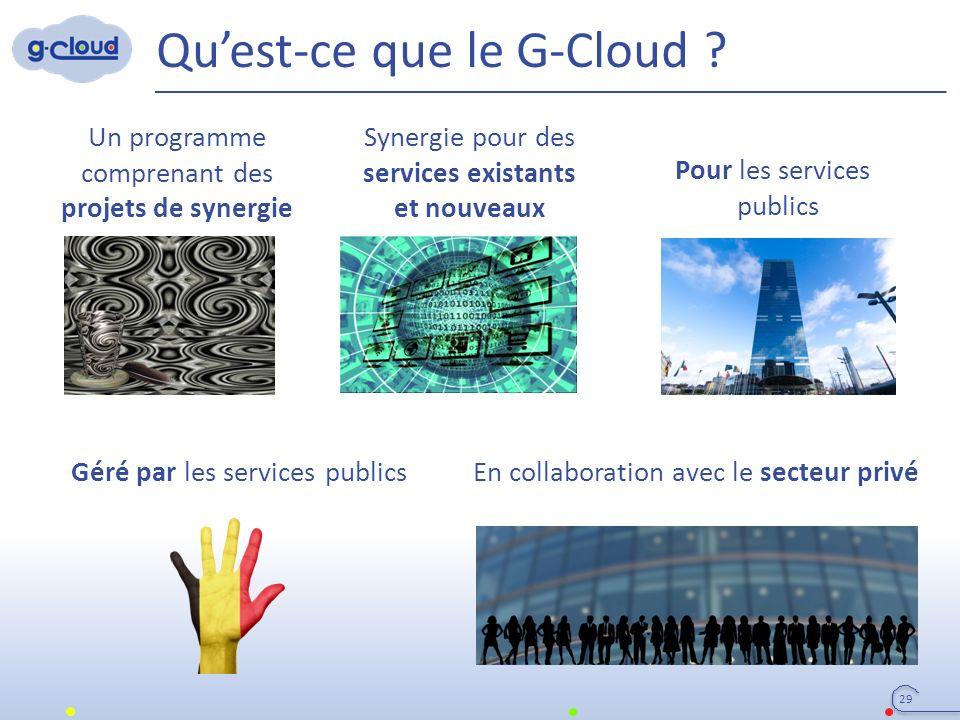 Qu'est-ce que le G-Cloud ? 29 Un programme comprenant des projets de synergie Synergie pour des services existants et nouveaux Pour les services publi