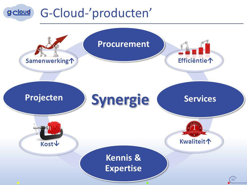 Synergie G-Cloud-'producten' 30 Procurement Services Projecten Kennis & Expertise Samenwerking  Efficiëntie  Kwaliteit  Kost 