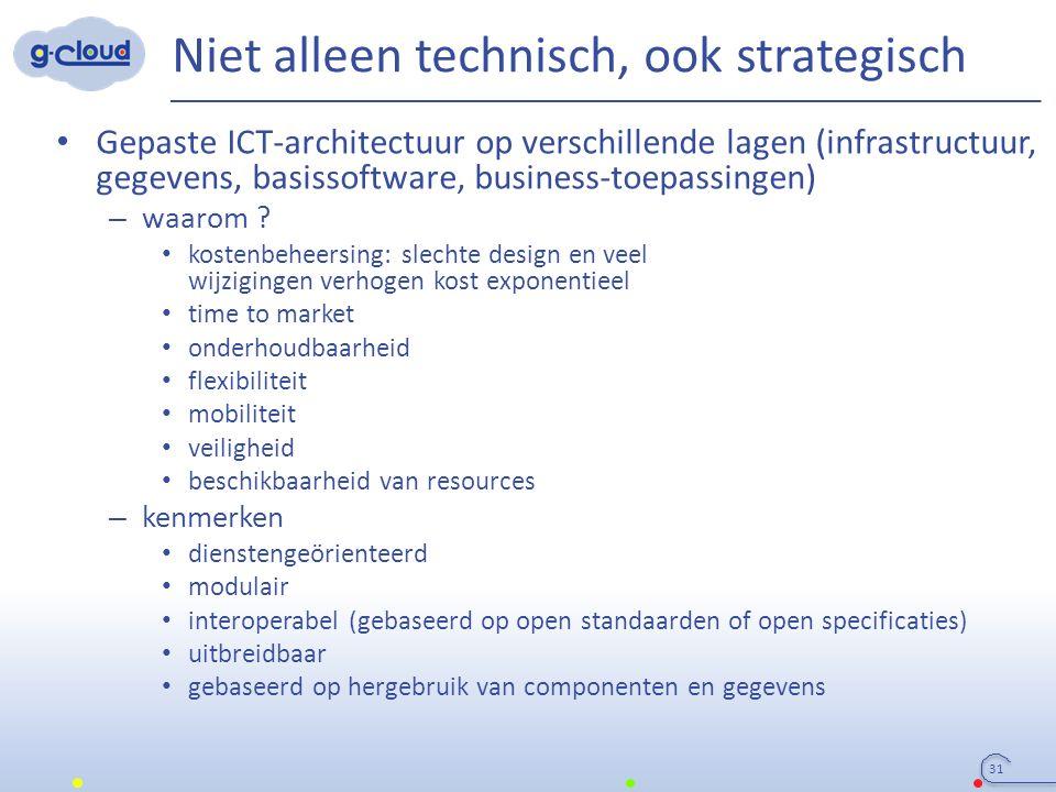 Niet alleen technisch, ook strategisch 31 Gepaste ICT-architectuur op verschillende lagen (infrastructuur, gegevens, basissoftware, business-toepassingen) – waarom .