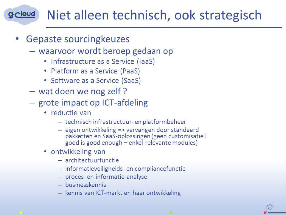 Niet alleen technisch, ook strategisch 32 Gepaste sourcingkeuzes – waarvoor wordt beroep gedaan op Infrastructure as a Service (IaaS) Platform as a Service (PaaS) Software as a Service (SaaS) – wat doen we nog zelf .