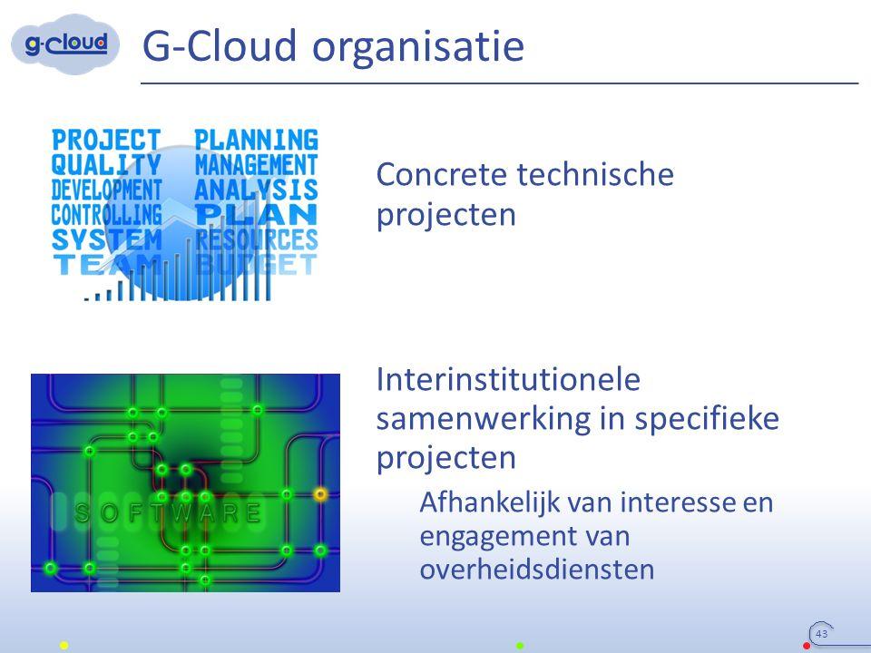 G-Cloud organisatie Concrete technische projecten Interinstitutionele samenwerking in specifieke projecten Afhankelijk van interesse en engagement van overheidsdiensten 43