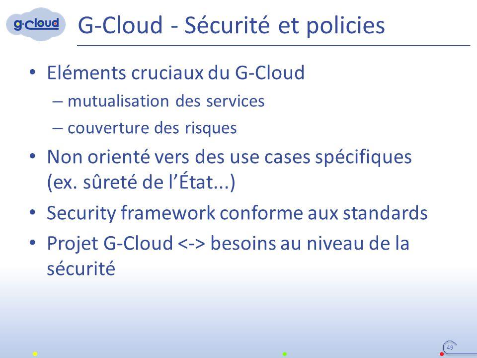 G-Cloud - Sécurité et policies Eléments cruciaux du G-Cloud – mutualisation des services – couverture des risques Non orienté vers des use cases spécifiques (ex.