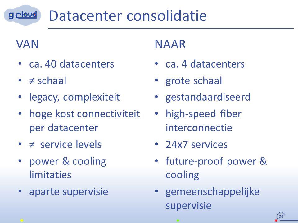 Datacenter consolidatie 54 VAN NAAR ca. 40 datacenters ≠ schaal legacy, complexiteit hoge kost connectiviteit per datacenter ≠ service levels power &