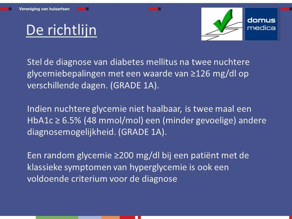 Stel de diagnose van diabetes mellitus na twee nuchtere glycemiebepalingen met een waarde van ≥126 mg/dl op verschillende dagen.