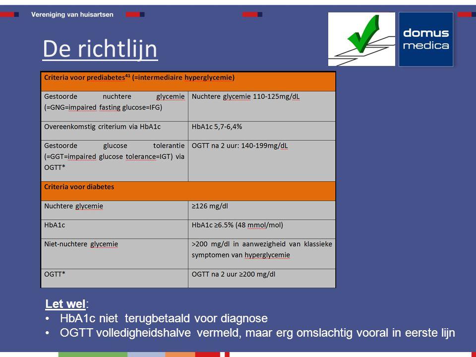 Let wel: HbA1c niet terugbetaald voor diagnose OGTT volledigheidshalve vermeld, maar erg omslachtig vooral in eerste lijn