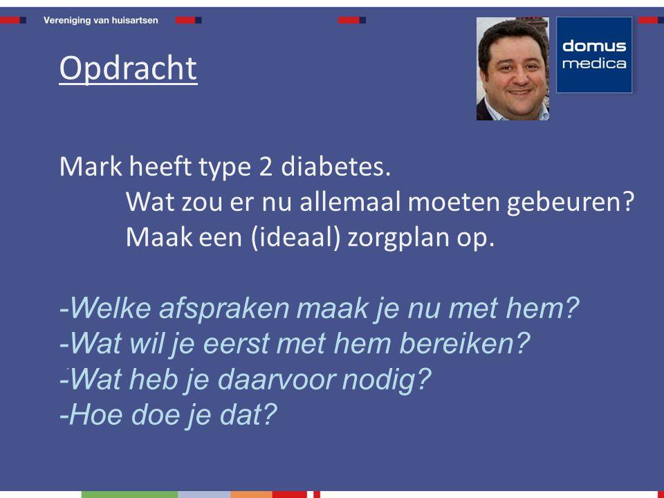 Mark heeft type 2 diabetes.Wat zou er nu allemaal moeten gebeuren.