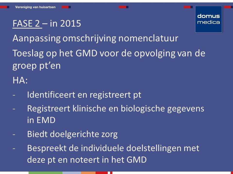 FASE 2 – in 2015 Aanpassing omschrijving nomenclatuur Toeslag op het GMD voor de opvolging van de groep pt'en HA: -Identificeert en registreert pt -Registreert klinische en biologische gegevens in EMD -Biedt doelgerichte zorg -Bespreekt de individuele doelstellingen met deze pt en noteert in het GMD