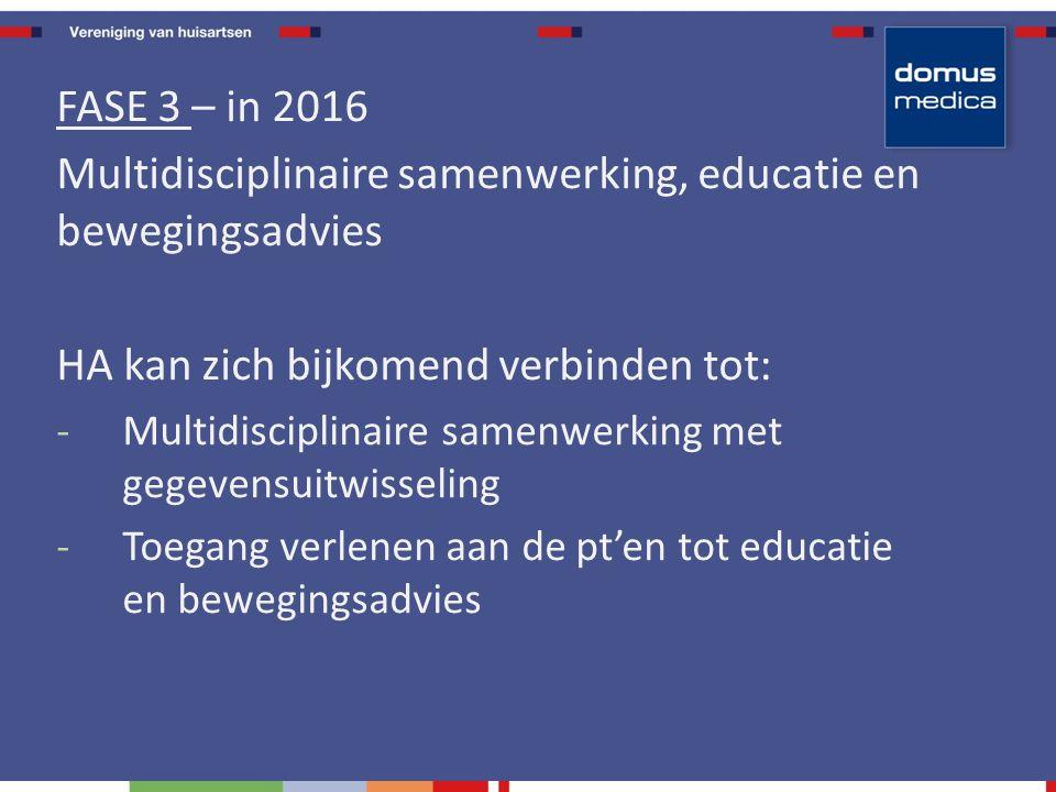 FASE 3 – in 2016 Multidisciplinaire samenwerking, educatie en bewegingsadvies HA kan zich bijkomend verbinden tot: -Multidisciplinaire samenwerking met gegevensuitwisseling -Toegang verlenen aan de pt'en tot educatie en bewegingsadvies