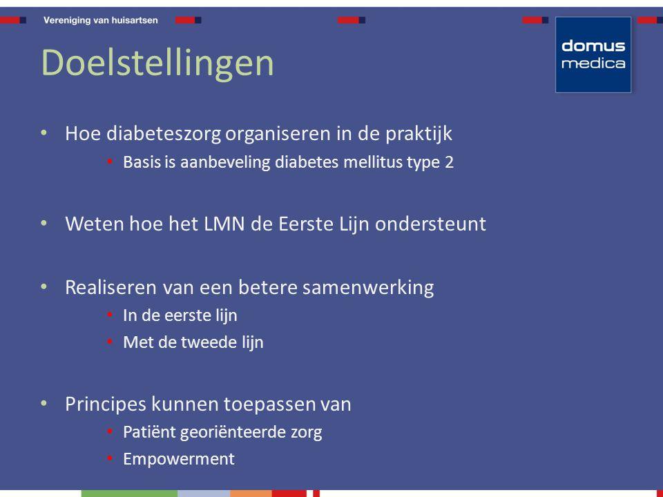 Doelstellingen Hoe diabeteszorg organiseren in de praktijk Basis is aanbeveling diabetes mellitus type 2 Weten hoe het LMN de Eerste Lijn ondersteunt Realiseren van een betere samenwerking In de eerste lijn Met de tweede lijn Principes kunnen toepassen van Patiënt georiënteerde zorg Empowerment