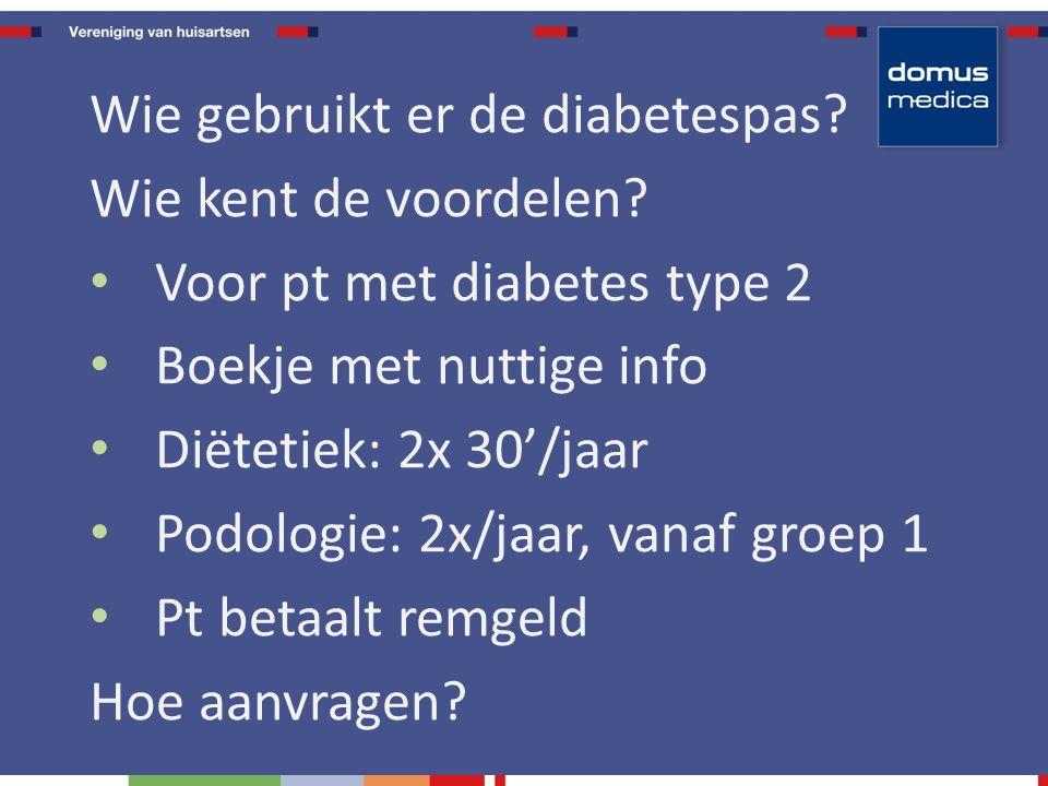 Wie gebruikt er de diabetespas.Wie kent de voordelen.