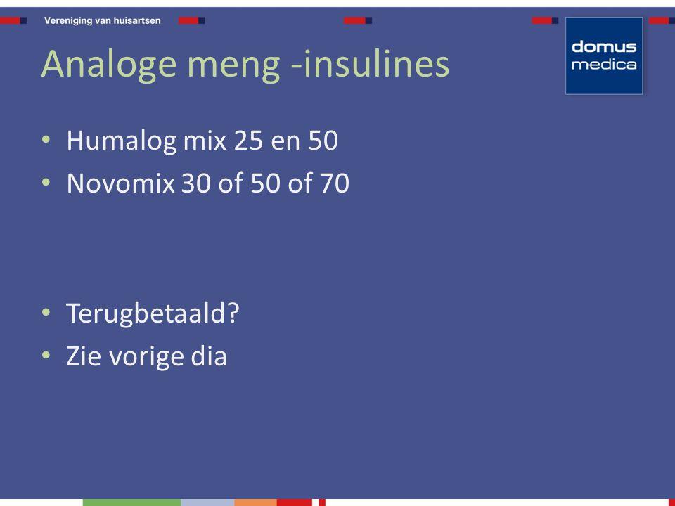 Analoge meng -insulines Humalog mix 25 en 50 Novomix 30 of 50 of 70 Terugbetaald? Zie vorige dia
