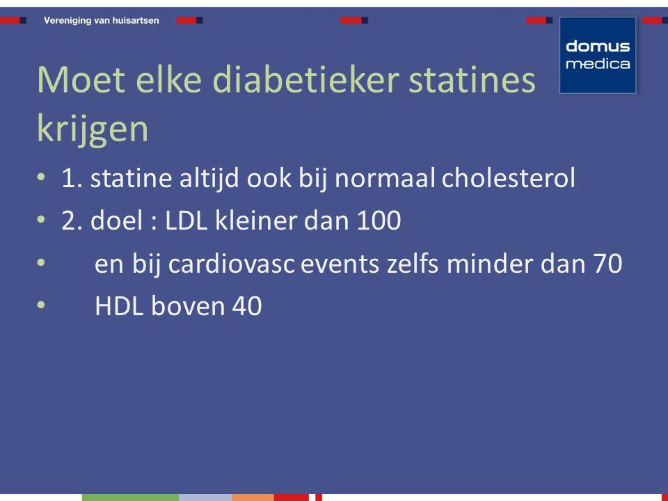Moet elke diabetieker statines krijgen 1. statine altijd ook bij normaal cholesterol 2.