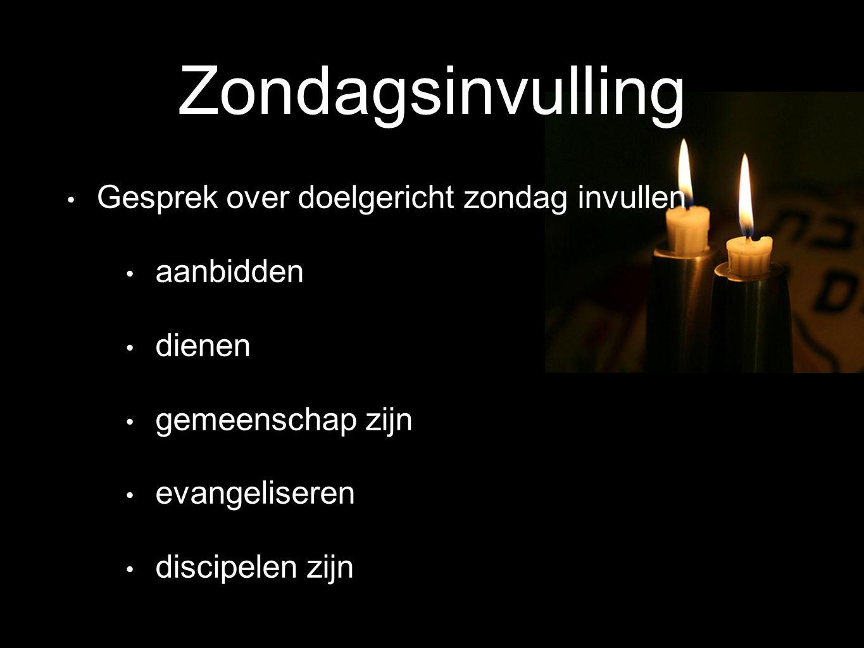 Zondagsinvulling Gesprek over doelgericht zondag invullen aanbidden dienen gemeenschap zijn evangeliseren discipelen zijn