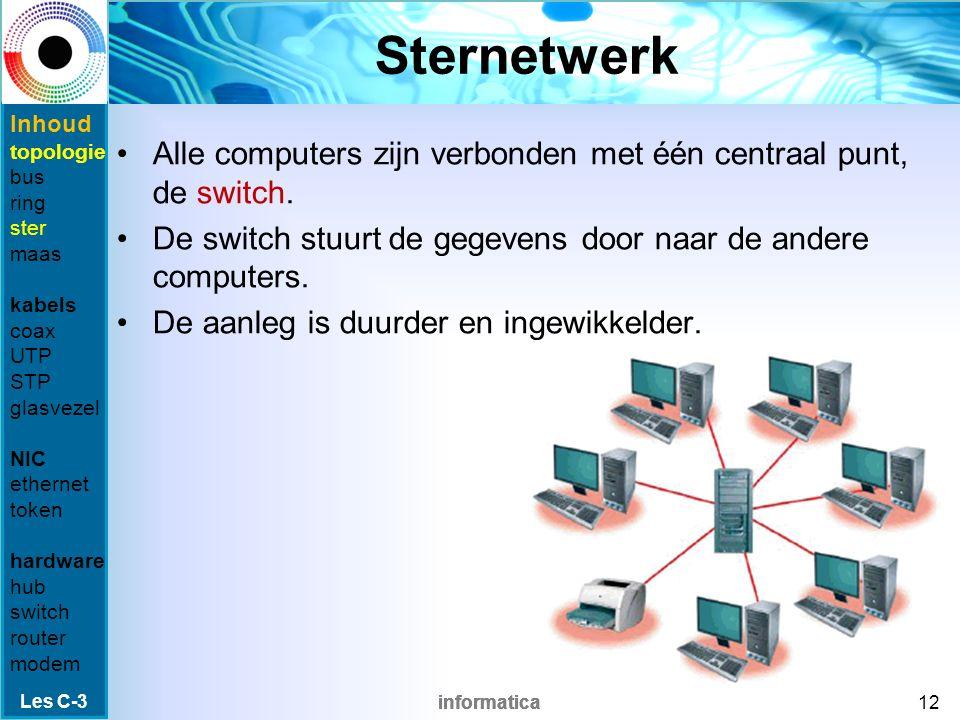 informatica Ringnetwerk Gegevens mogen alleen verstuurd worden door de computer die een leeg token ontvangt.