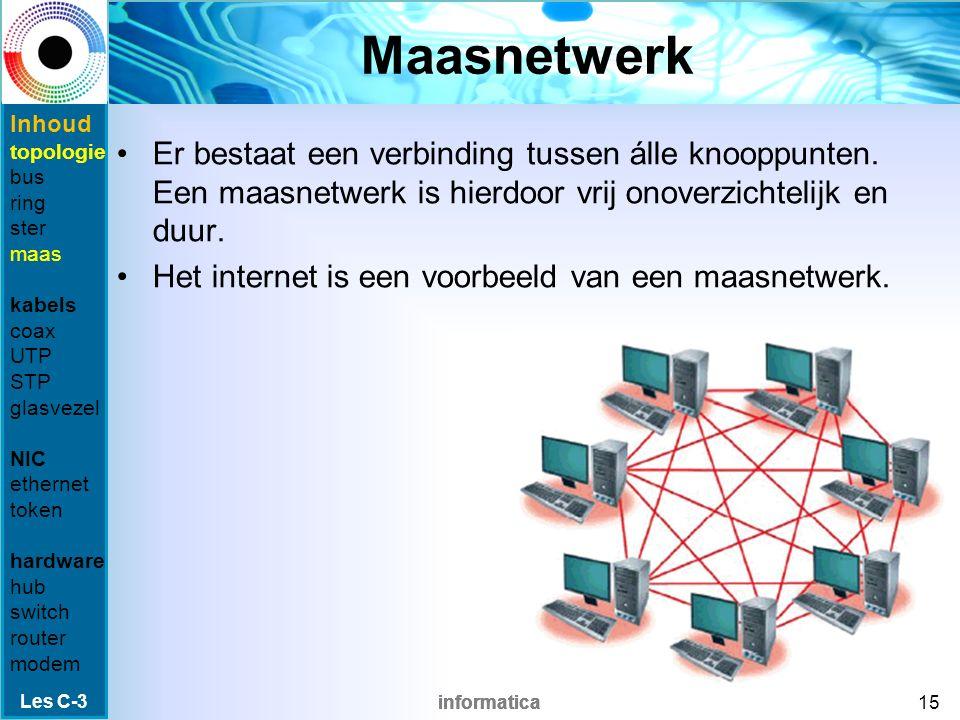 informatica Fysiek of logisch Bij de topologie wordt onderscheid gemaakt tussen fysiek (de bekabelde verbinding) en logisch (hoe de gegevens verstuurd worden) Voorbeeld: Als een sternetwerk gebruik zou maken van een token ring, is de topologie Fysiek : een sternetwerk Logisch: een ringnetwerk Les C-3 14 Inhoud topologie bus ring ster maas kabels coax UTP STP glasvezel NIC ethernet token hardware hub switch router modem