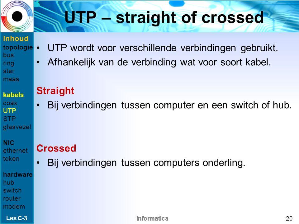 informatica UTP-kabel Wordt veel gebruikt bij sternetwerken.