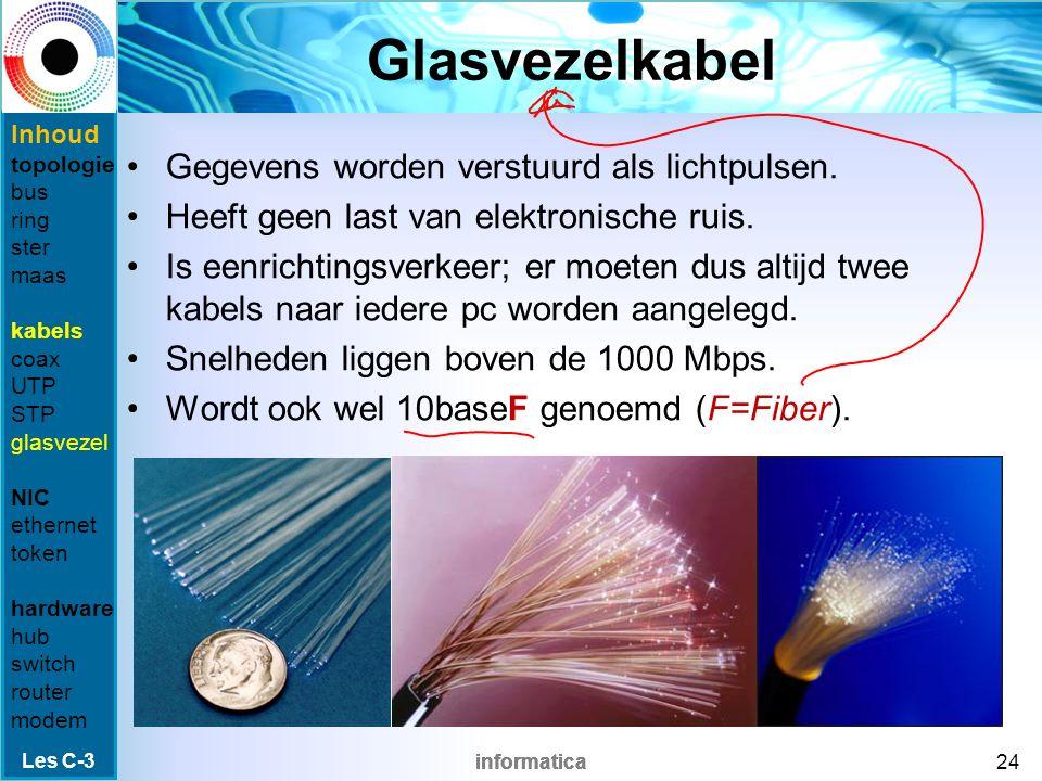 informatica STP STP = Shielded Twisted Pair Net als UTP, maar met afscherming tegen –instraling: storing van buitenaf, zoals stofzuigers –uitstraling: als de kabel zelf storing geeft t.o.v.