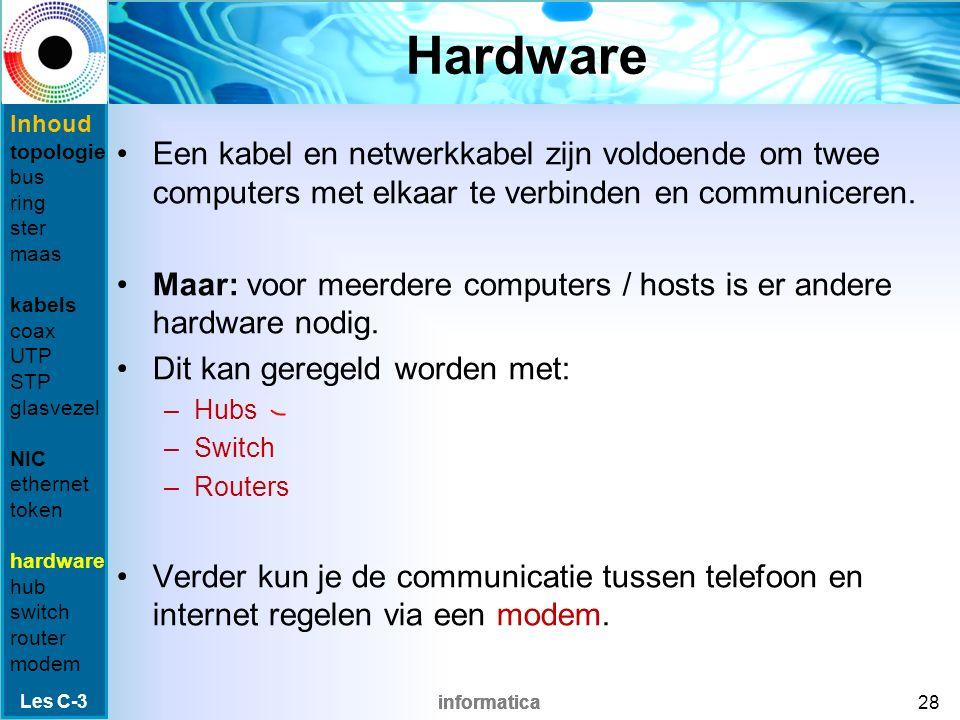 informatica Ethernet Een standaard die verkeer binnen LAN (en tegenwoordig bij WAN) kan regelen.