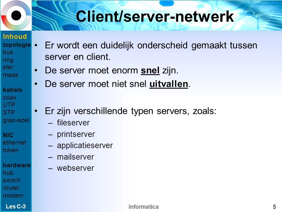 informatica Netwerken Een netwerk bestaat uit twee of meer computers die met elkaar verbonden zijn via een kabel of andere verbinding.