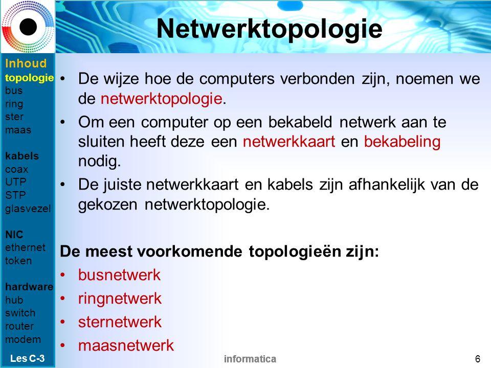 informatica Netwerkkaarten In een netwerk heeft iedere computer een netwerkkaart nodig: een uitbreidingskaart die de te verzenden gegevens op de netwerkkabel zet.