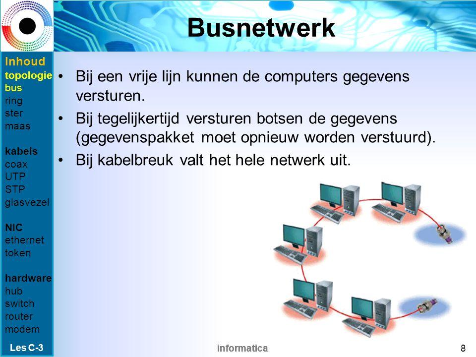 informatica Busnetwerk Bij een vrije lijn kunnen de computers gegevens versturen.