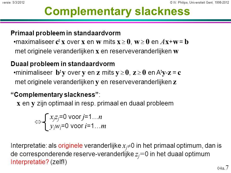 © W. Philips, Universiteit Gent, 1998-2012versie: 5/3/2012 04a. 7 Complementary slackness Primaal probleem in standaardvorm maximaliseer c t x over x