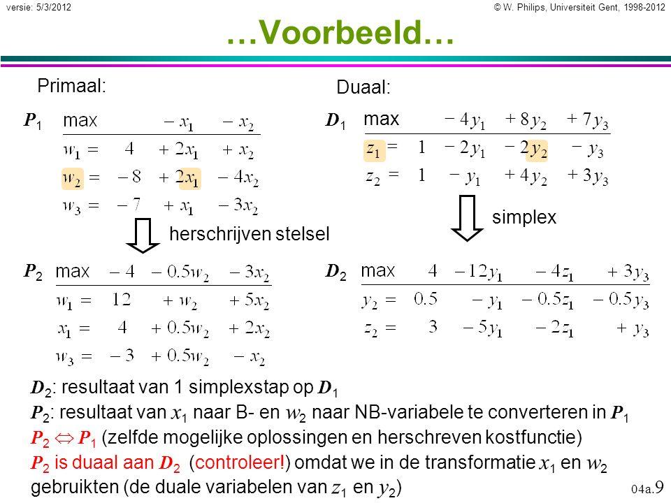 © W. Philips, Universiteit Gent, 1998-2012versie: 5/3/2012 04a. 9 …Voorbeeld… D 2 : resultaat van 1 simplexstap op D 1 P 2 : resultaat van x 1 naar B-