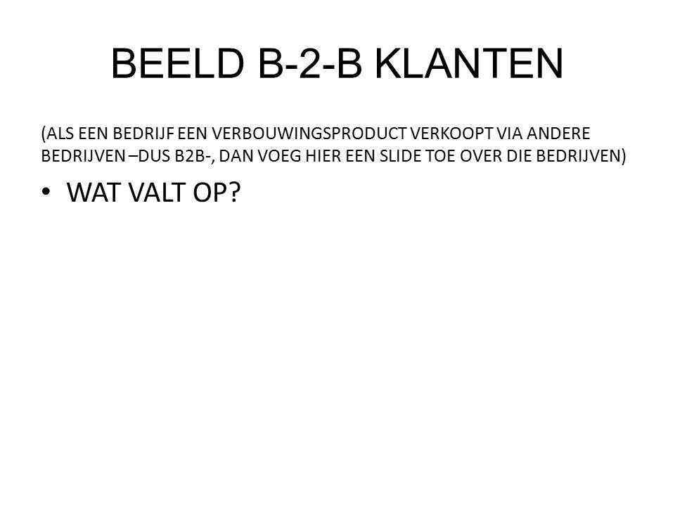 BEELD B-2-B KLANTEN (ALS EEN BEDRIJF EEN VERBOUWINGSPRODUCT VERKOOPT VIA ANDERE BEDRIJVEN –DUS B2B-, DAN VOEG HIER EEN SLIDE TOE OVER DIE BEDRIJVEN) WAT VALT OP