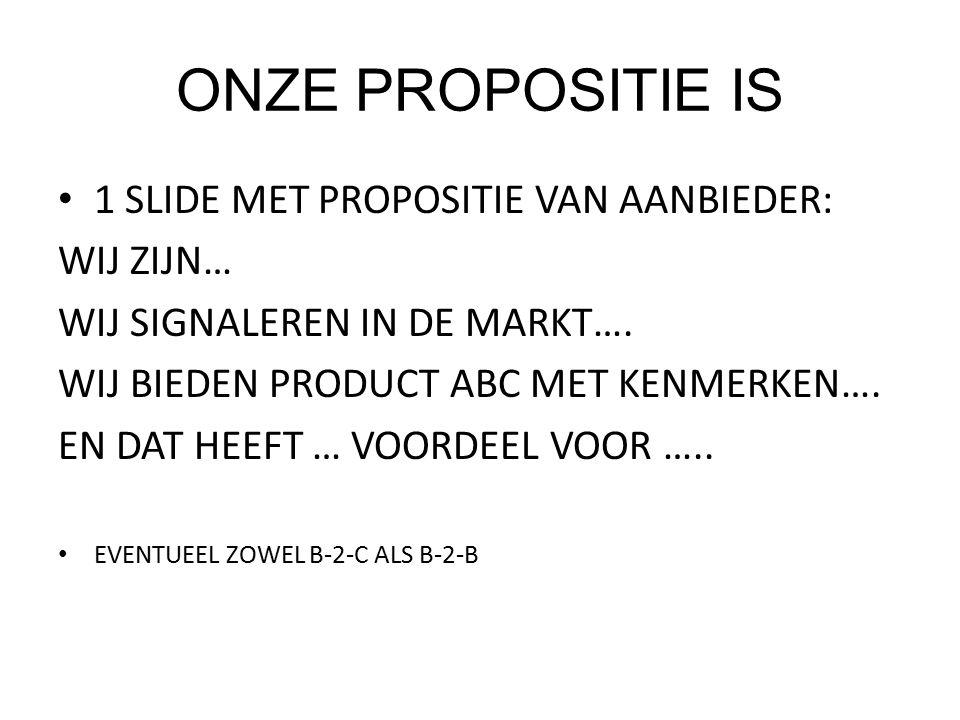 ONZE PROPOSITIE IS 1 SLIDE MET PROPOSITIE VAN AANBIEDER: WIJ ZIJN… WIJ SIGNALEREN IN DE MARKT….