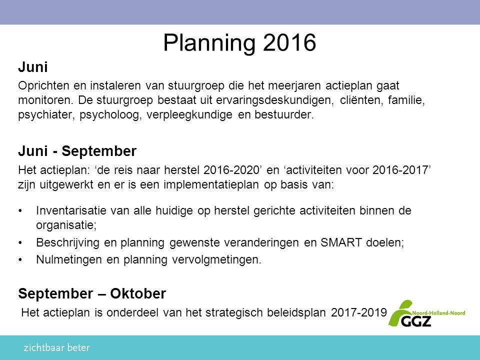 Juni Oprichten en instaleren van stuurgroep die het meerjaren actieplan gaat monitoren.