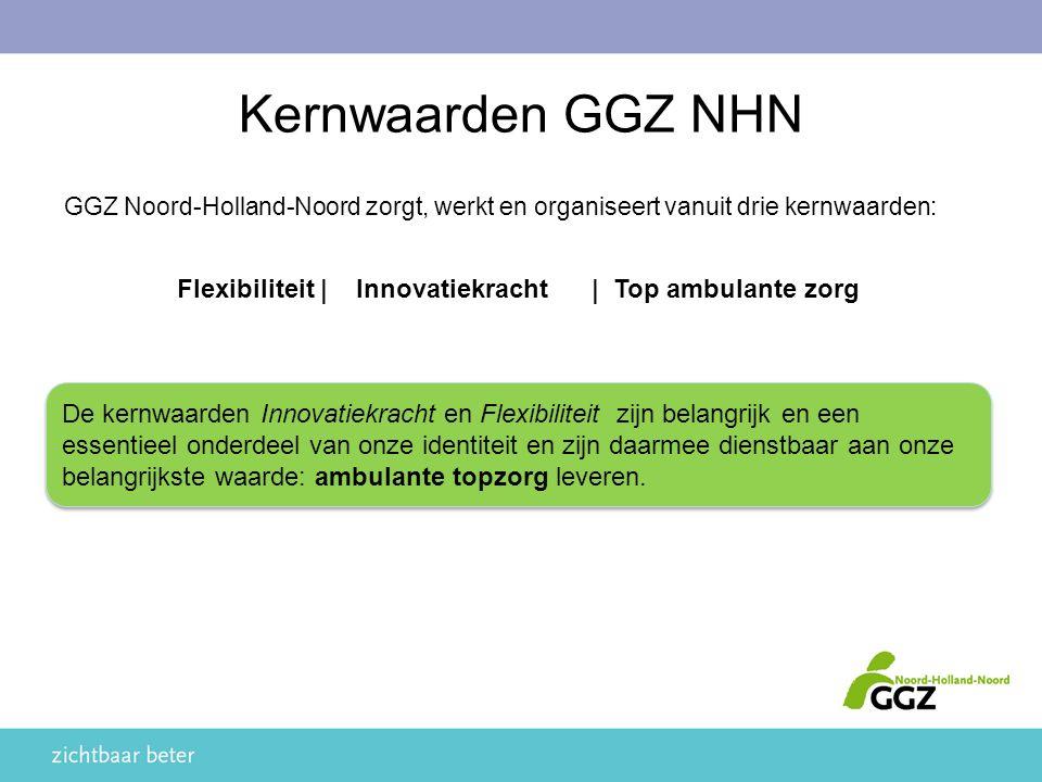 Kernwaarden GGZ NHN GGZ Noord-Holland-Noord zorgt, werkt en organiseert vanuit drie kernwaarden: Flexibiliteit | Innovatiekracht| Top ambulante zorg De kernwaarden Innovatiekracht en Flexibiliteit zijn belangrijk en een essentieel onderdeel van onze identiteit en zijn daarmee dienstbaar aan onze belangrijkste waarde: ambulante topzorg leveren.