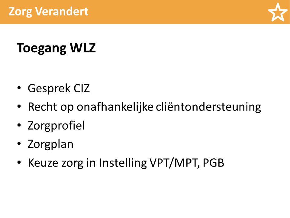Zorg Verandert Toegang WLZ Gesprek CIZ Recht op onafhankelijke cliëntondersteuning Zorgprofiel Zorgplan Keuze zorg in Instelling VPT/MPT, PGB