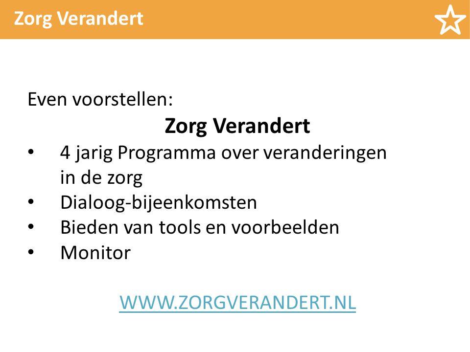 Zorg Verandert Even voorstellen: Zorg Verandert 4 jarig Programma over veranderingen in de zorg Dialoog-bijeenkomsten Bieden van tools en voorbeelden Monitor WWW.ZORGVERANDERT.NL
